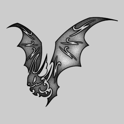 Grey And Black Tribal Bat Tattoo Design