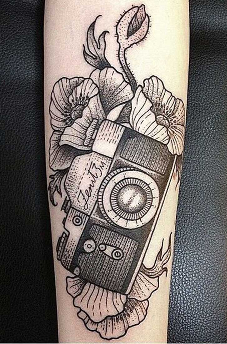 Grey Flowers And Photography Camera Tattoo