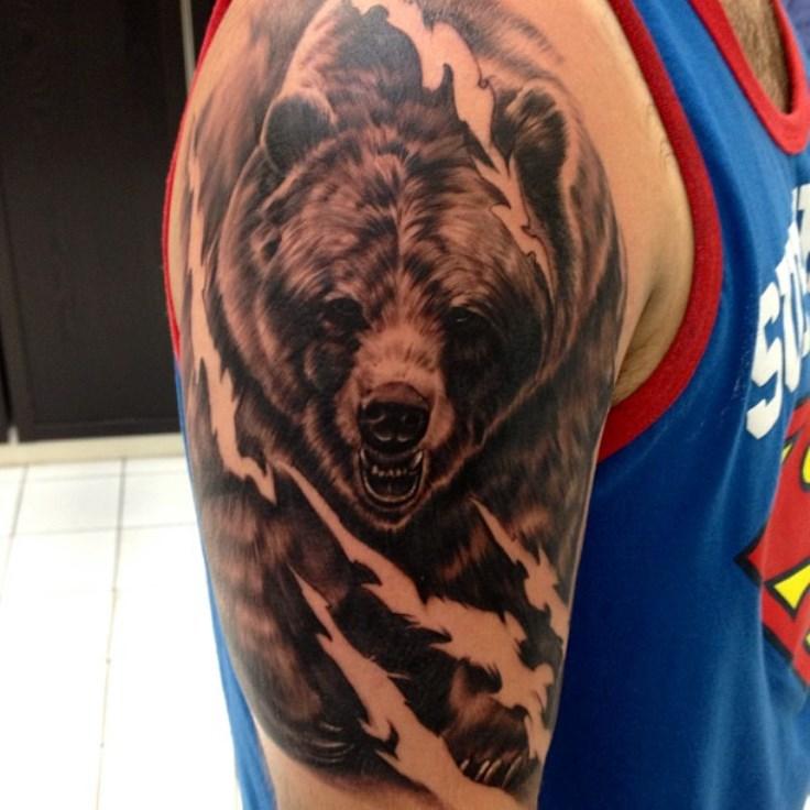 Grey Ink Bear Tattoo On Right Half Sleeve