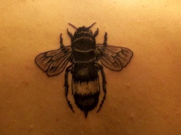 Grey Ink Bumblebee Tattoo Design