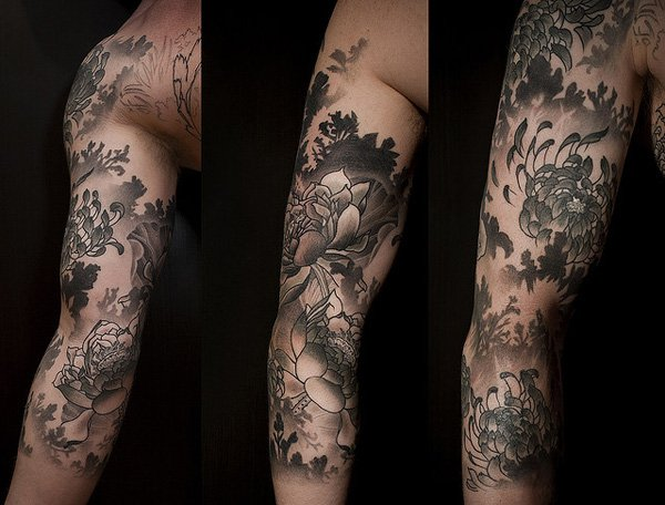 Grey Ink Flowers Tattoos On Arm
