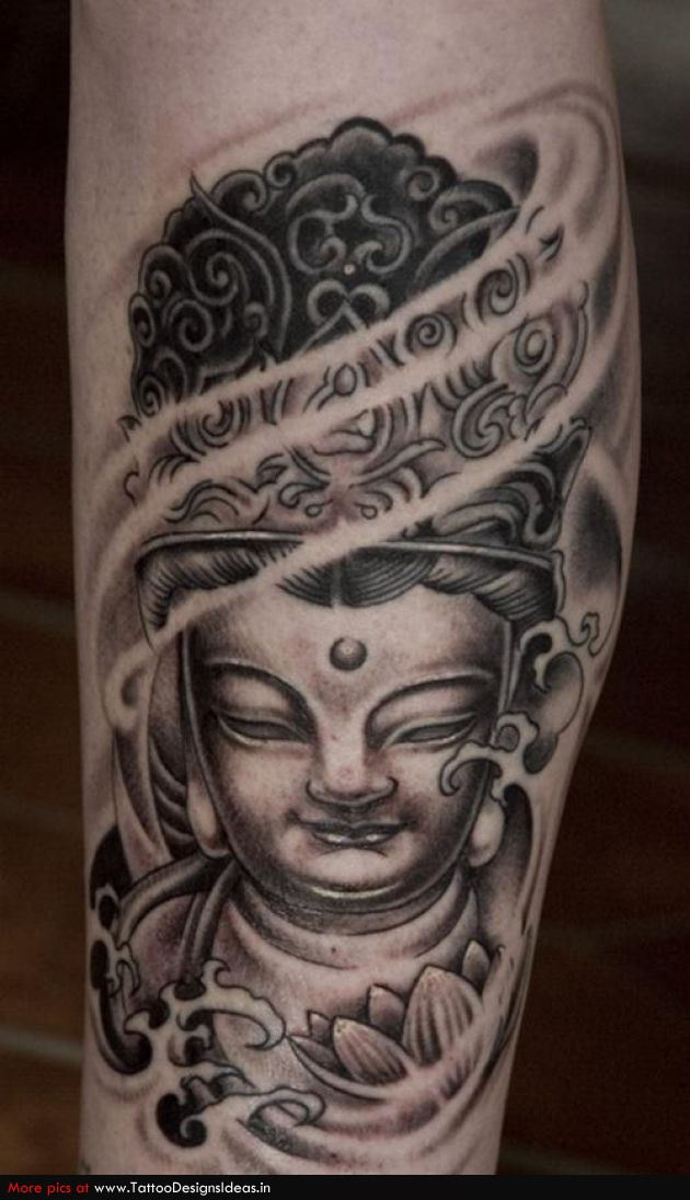 Lotus flower and buddha tattoo on leg grey ink lotus flower and buddha tattoo on arm mightylinksfo