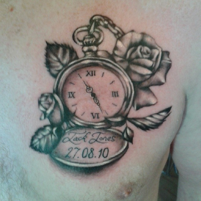Grey Ink Memorial Pocket Watch Tattoo On Chest