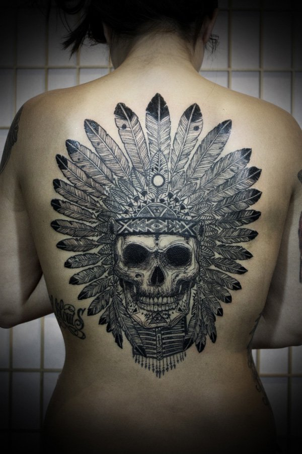Grey Ink Native American Skull Back Tattoo