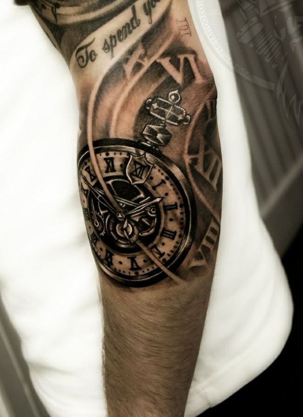 Grey Ink Pocket Watch Tattoo On Arm