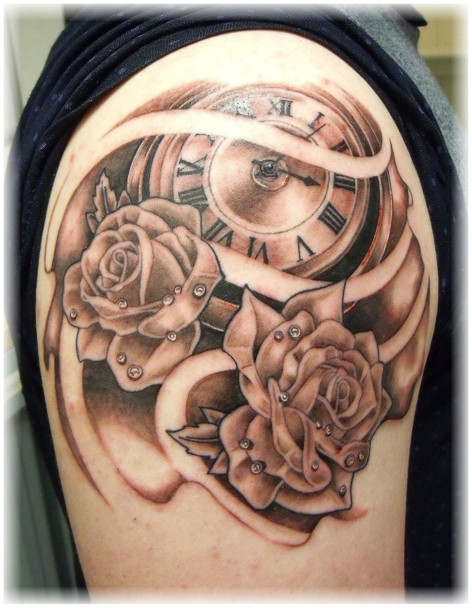 0189c4371bf46 Grey Rose Flowers And Pocket Watch Tattoo On Shoulder