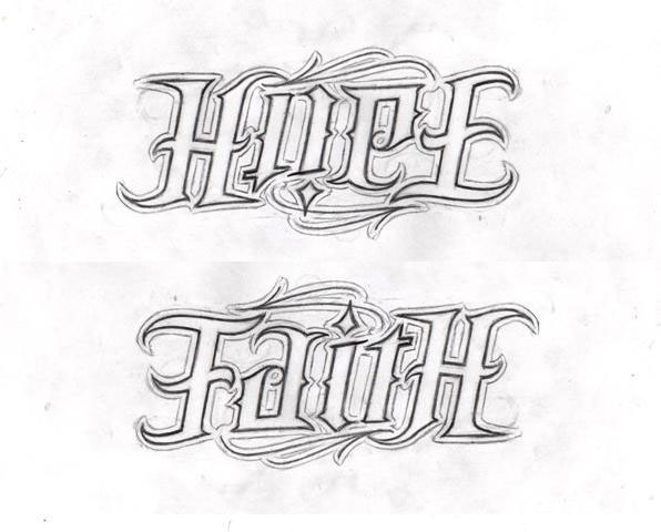 Hope Faith Ambigram Tattoo Designs