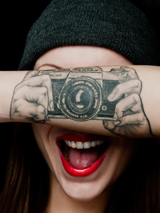 Illusion Camera Tattoo On Girl Left Arm