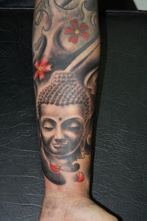 realistic grey ink buddha tattoo. Black Bedroom Furniture Sets. Home Design Ideas