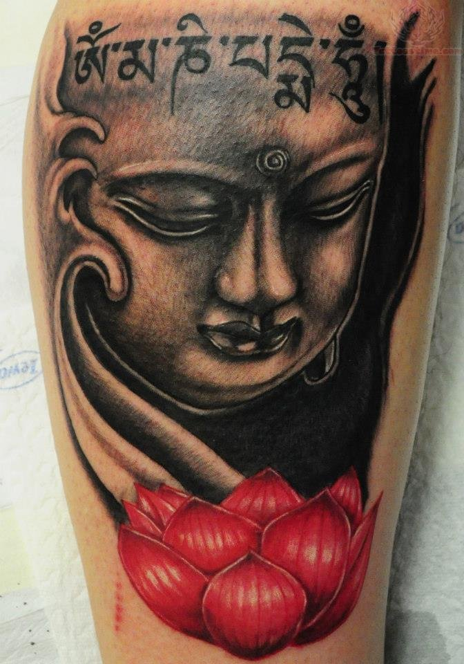 Lotus Flower And Buddha Tattoo On Leg
