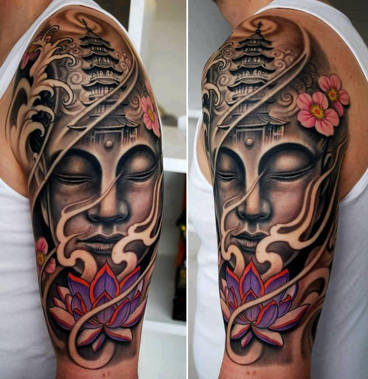 Lotus Flower And Buddha Tattoo On Man Left Half Sleeve