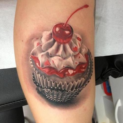 Lovely Jelly Cake Tattoo On Bicep
