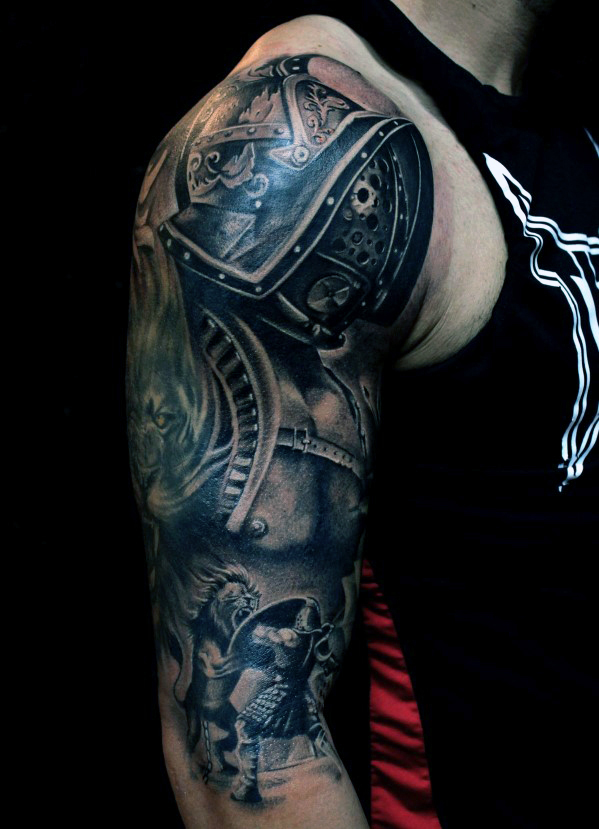 Man Right Arm Warrior Tattoo