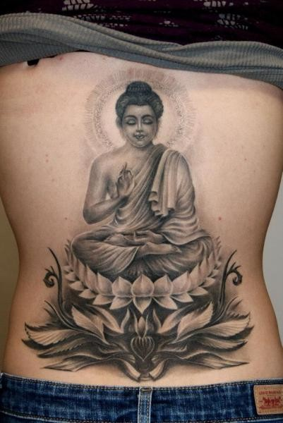 Meditating Buddha Tattoo On Full Back