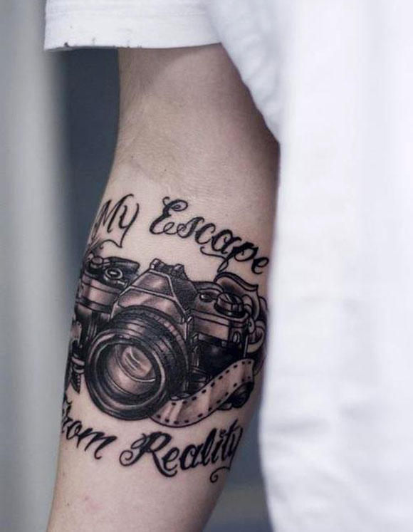 My Escape From Reality Camera Tattoo On Right Forearm