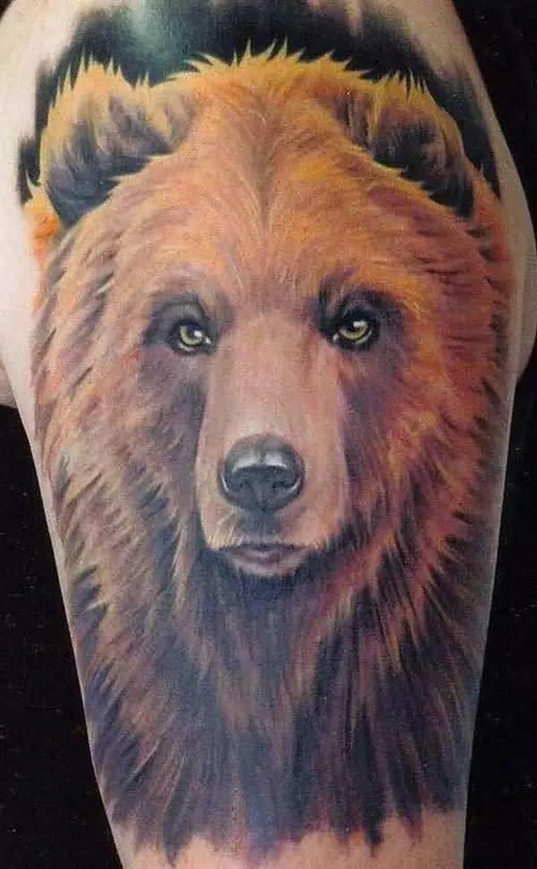 Nice Bear Tattoo Design For Half Sleeve