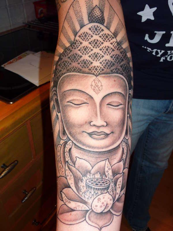 Nice Grey Ink Buddha Tattoo On Right Forearm