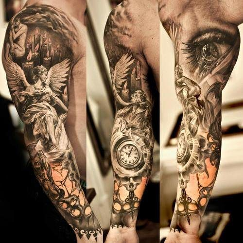 Realistic Grey Ink Angel Tattoo On Full Arm Sleeve