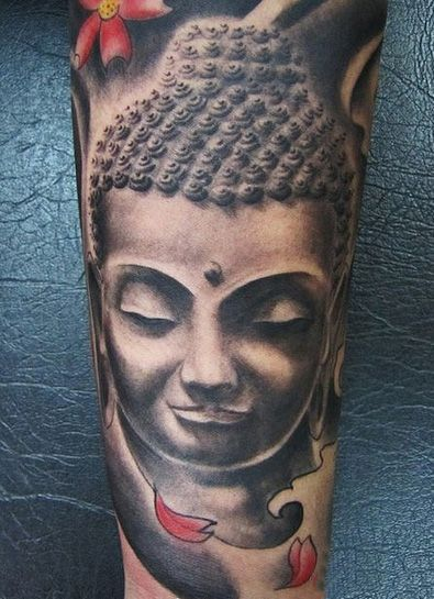 Realistic Grey Ink Buddha Tattoo