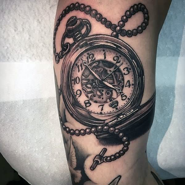 Neo traditional pocket watch tattoo
