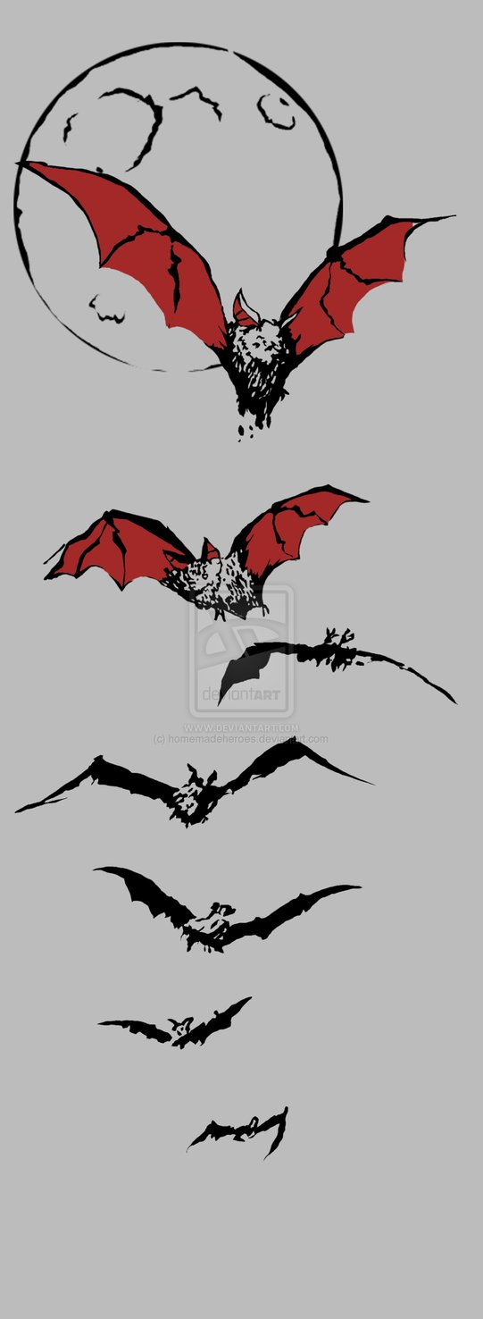 Red And Black Bat Tattoo Designs