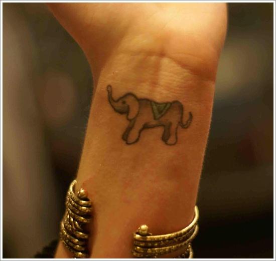 Small Indian Elephant Tattoo On Wrist