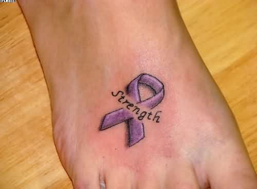 Strength Breast Cancer Tattoo On Right Foot