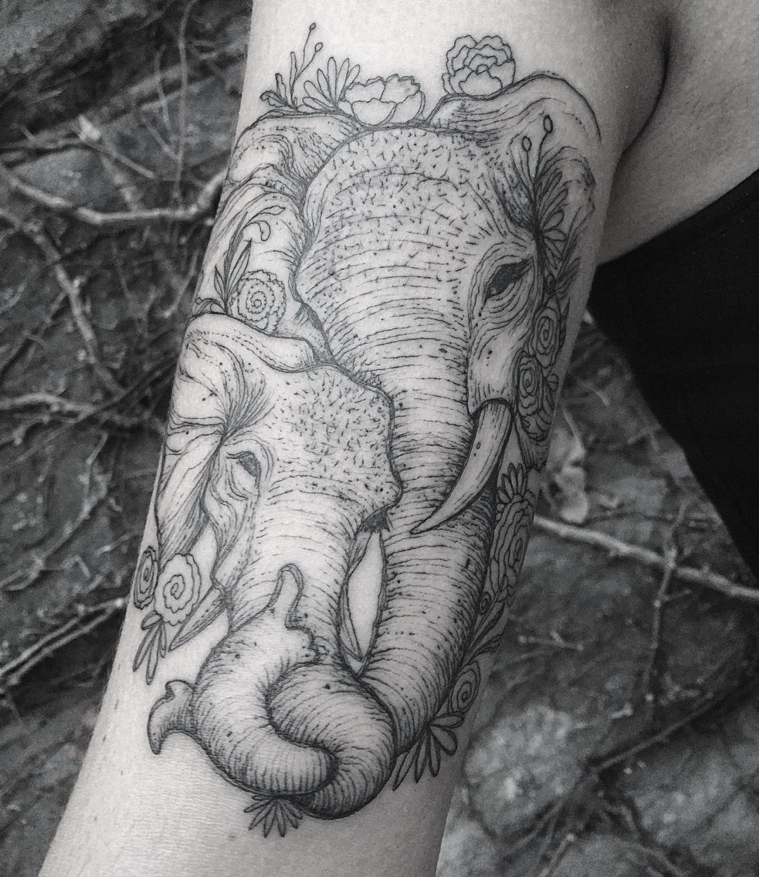 Superb Baby And Mother Elephant Tattoo On Leg