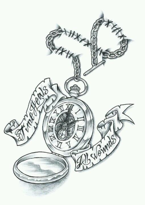 Time Heals All Wounds Pocket Watch Tattoo Design