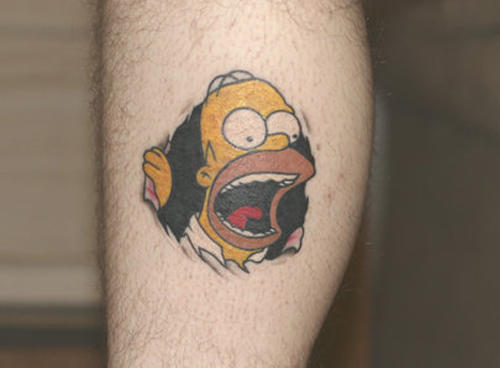 Torn Skin Homer Cartoon Tattoo On Leg