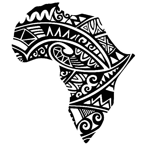 Traditional African Map Tattoo Design