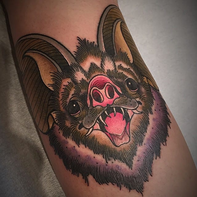 Traditional Bat Face Tattoo by Alex Sabur