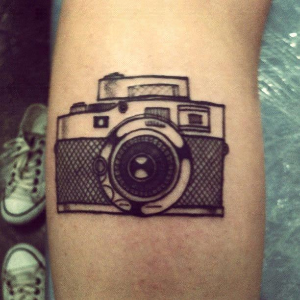 Traditional Camera Tattoo On Arm