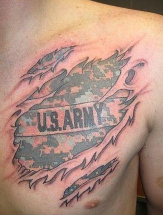US Army Tattoo On Man Chest