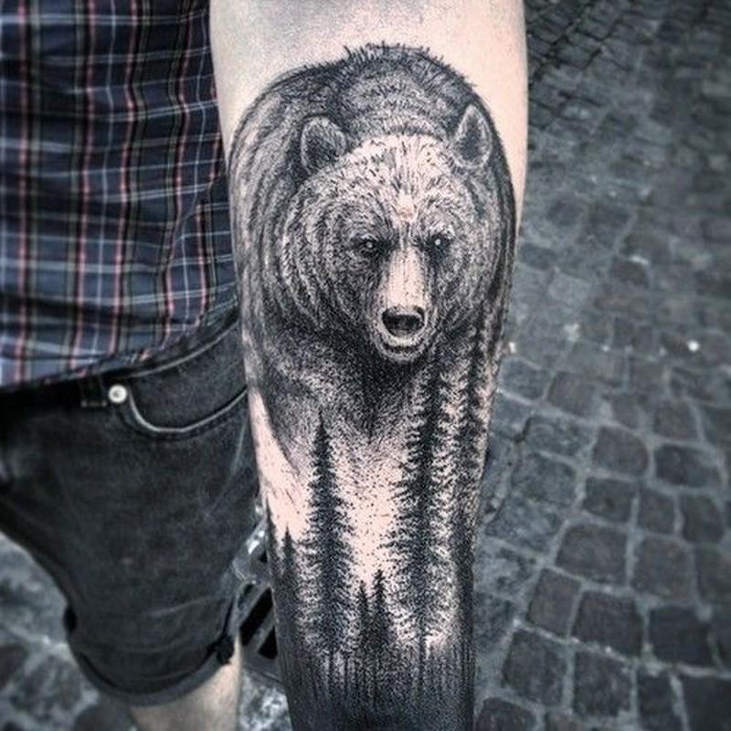 Wild Bear Tattoo On Left Forearm