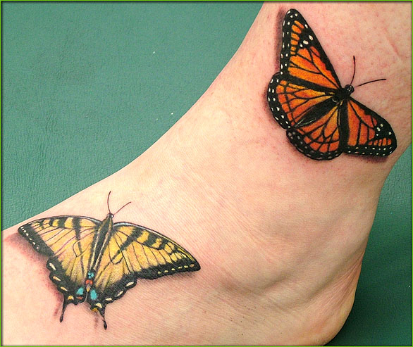 3D Butterflies Tattoo On Ankle And Foot