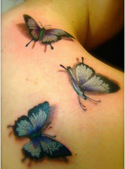 3D Butterflies Tattoo On Girl Back Shoulder