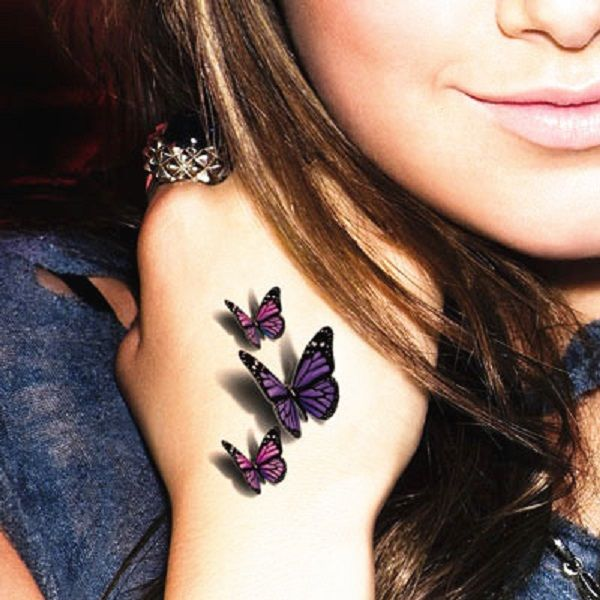 3D Butterflies Tattoo On Girl Hand