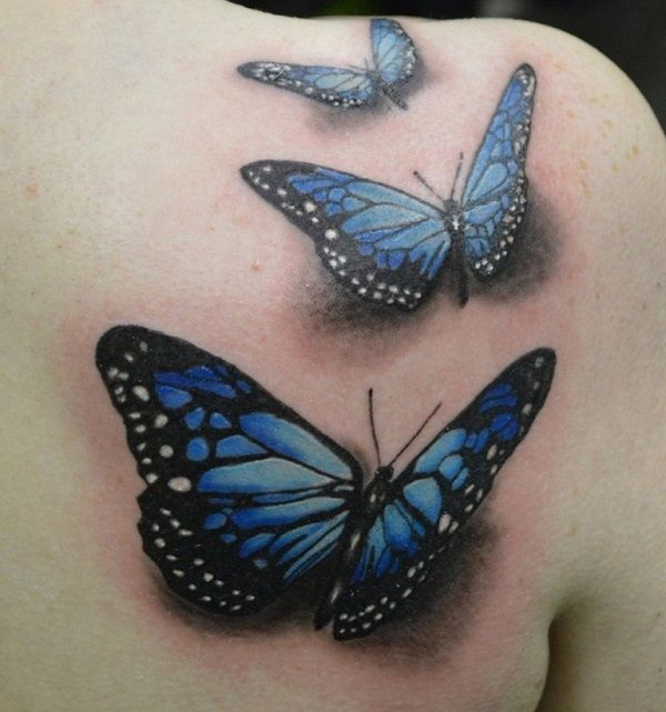 3D Butterflies Tattoo On Right Back Shoulder