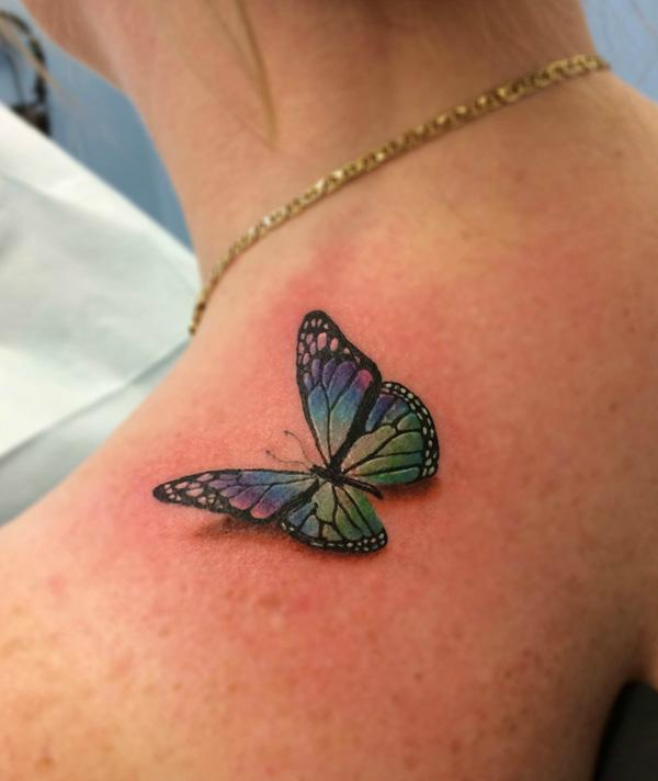 3D Butterfly Tattoo On Girl Back Shoulder