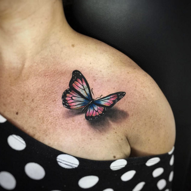 3D Butterfly Tattoo On Upper Shoulder