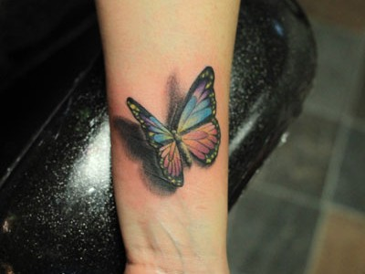 3D Butterfly Tattoo On Wrist By Justin