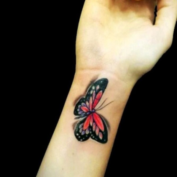 3D Butterfly Tattoo On Wrist For Girls