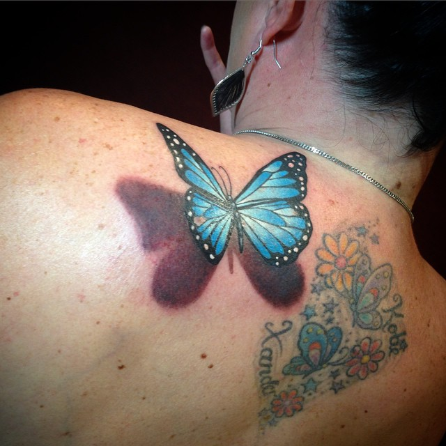 3D Butterfly Tattoo With Flowers For Girls