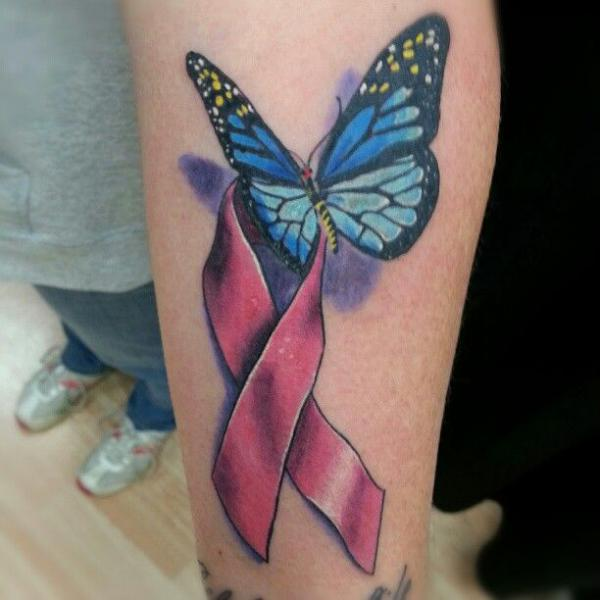 3D Butterfly With Cancer Ribbon Tattoo On Arm Sleeve