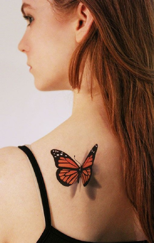 3D Monarch Butterfly Tattoo On Girl Back Shoulder