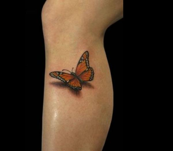3D Monarch Butterfly Tattoo On Leg