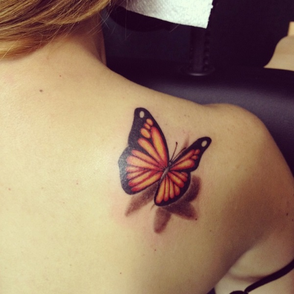 3D Monarch Butterfly Tattoo On Right Back Shoulder For Girls