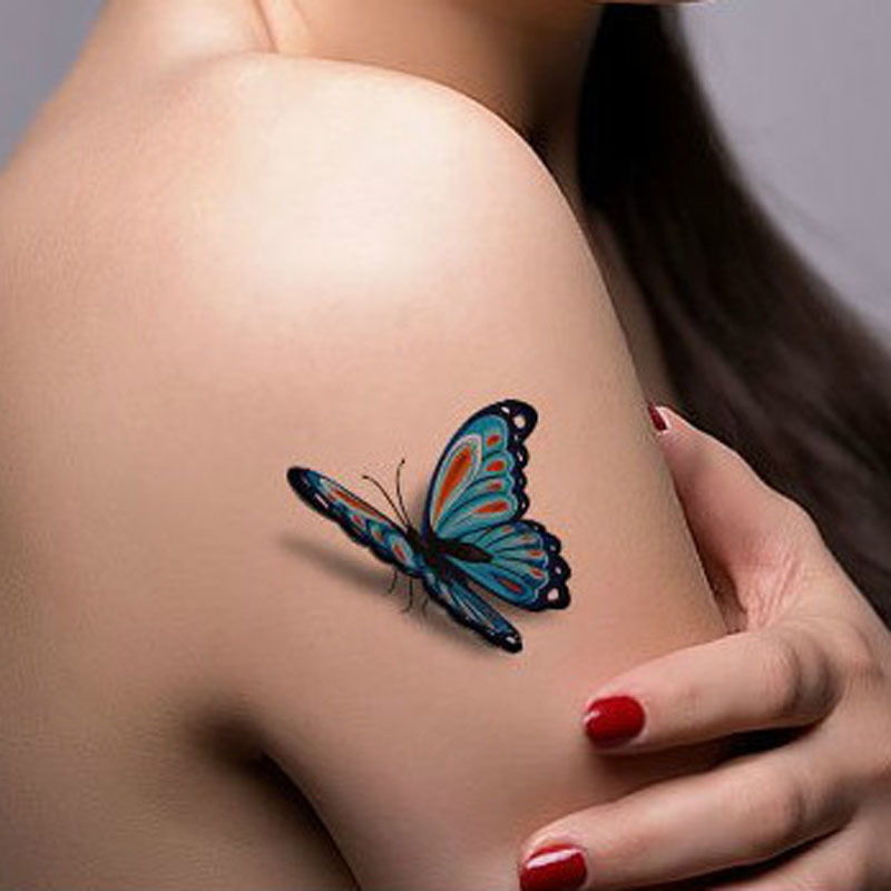 3D Temporary Butterfly Tattoo On Girl Right Shoulder
