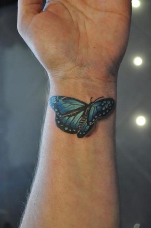 3d Blue Butterfly Tattoo On Wrist
